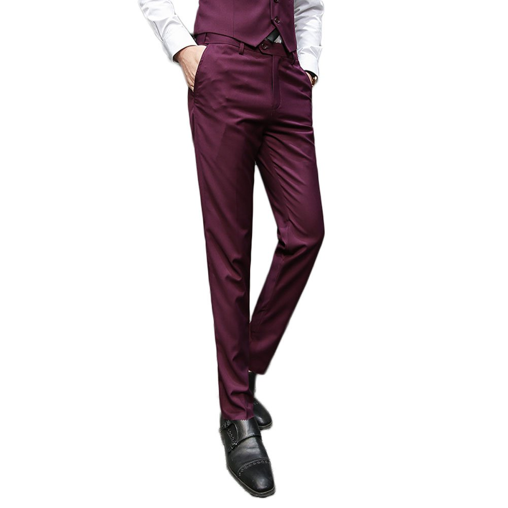 AK Beauty Men's Slim Fit Suit Pants Wrinkle Free Skinny Flat Front Pants Separate Pants