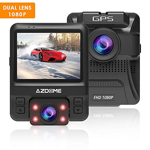 Price comparison product image Dash Cam with 6-Lane Dual Lens 170°Wide-Angle, 1080P Front and 720P Inside Dashboard Camera Recorder Built-in GPS, Sony Sensor, G-Sensor, Loop Recording, Night Vision, Parking Guard for Uber LYFT by AZDOME