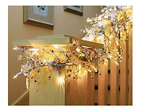 GE 9 ft Glitter Gem Garland Christmas Holiday Decoration Lights with 100 Constant On Clear Bright Indoor Lights White Wire (1 box (100 lights)) (Staircase Christmas Garland)