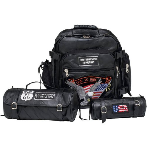 - Diamond Plate 3pc Rock Design Genuine Buffalo Leather Motorcycle Bag Set