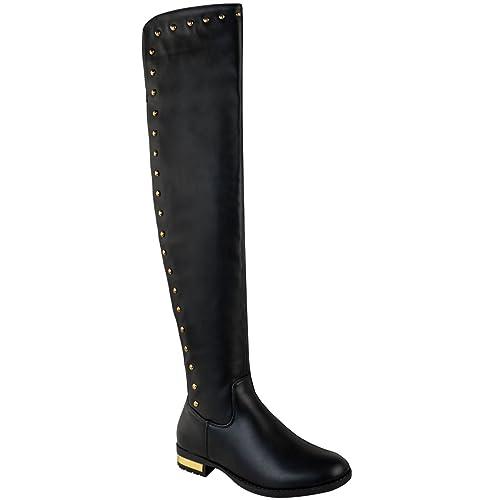 48251b5248ca9 Fashion Thirsty Bottes cuissardes pour femme - élastiqué à clous petit talon  - style