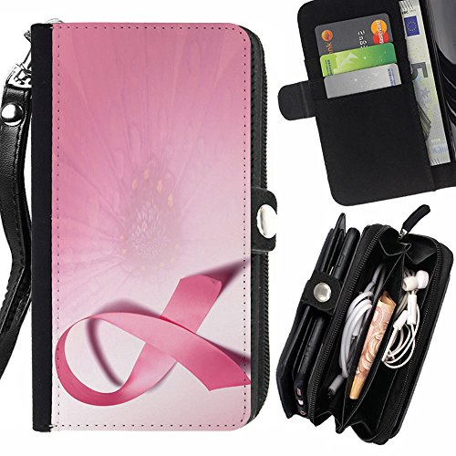Graphic4You Pink Cancer Ribbon Design Zipper Wallet With Strap Card Holder Case Cover for LG Stylus 2 Plus / LG Stylo 2 Plus