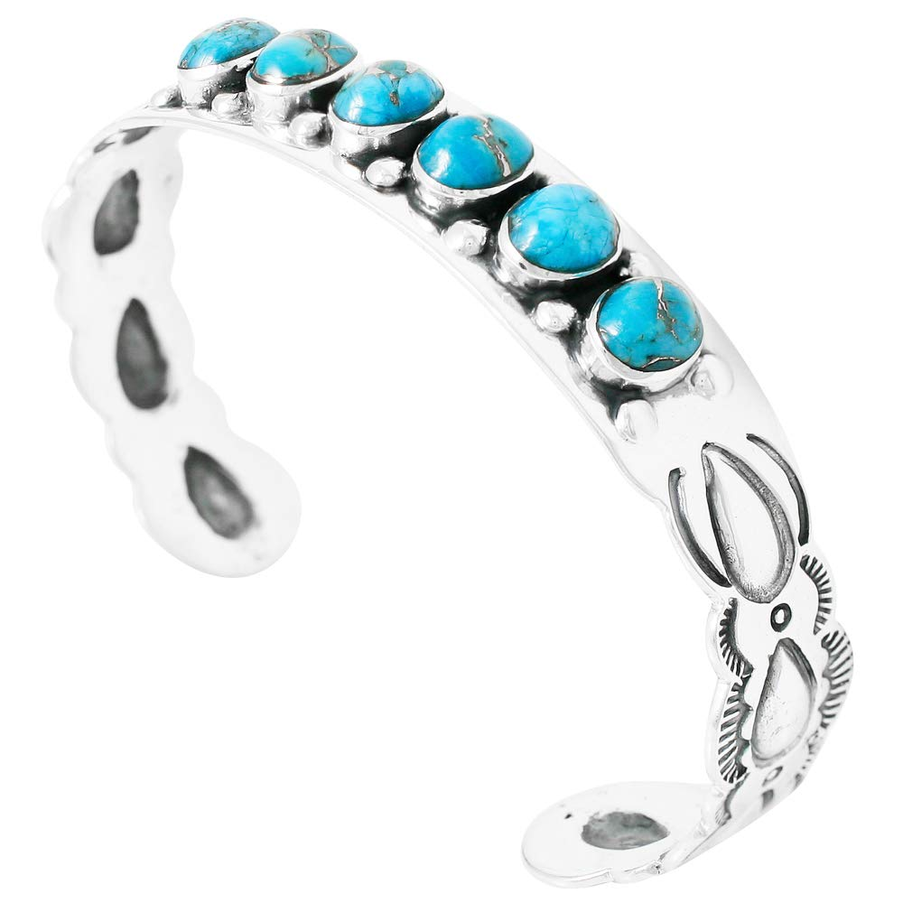 Turquoise Bracelet Sterling Silver 925 Genuine Turquoise Gemstones Cuff Bracelet (Teal/Matrix Turquoise)