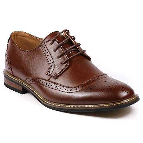 Metrocharm Alex-05 Men's Perforated Lace up Oxford Dress Shoes (11, Dark Brown) (Alex Heel)