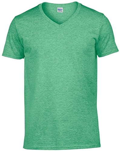 Gildan softstyletm camiseta de cuello de pico verde (Heather Irish Green)