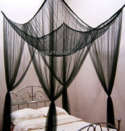 Four Poster Bed - Romantic Bed Canopy – Black King Size Bed Netting - Hang in Minutes, Easy Installation – Ideal Bedroom Accessory Home and More Store Mosquito Nets 4 U