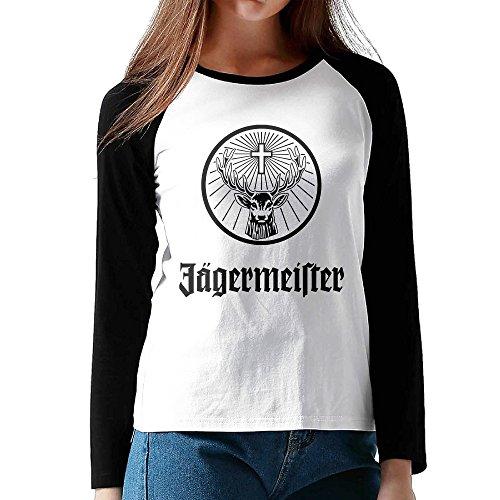 Loneki Women's Jagermeister Logo Baseball Raglan T-Shirts (Jagermeister Liqueur)