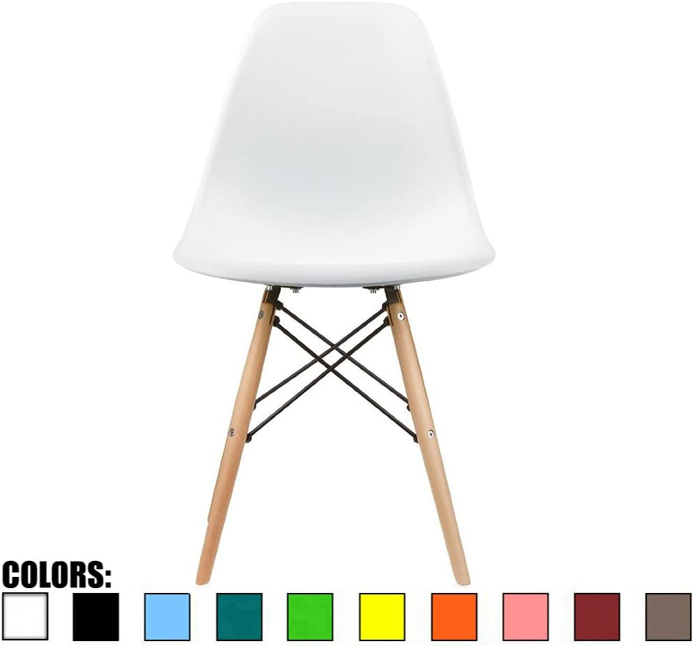 2xhome - DSW Molded Plastic Shell Bedroom Dining Side Ray Chair with Brown Wood Eiffel Dowel-Legs Base Nature Legs (White)