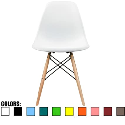 2xhome   White Plastic Chair Side Chair Eiffel With Natural Wood Legs