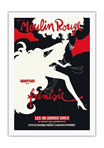 Rouge Moulin Gruau - Bal du Moulin Rouge - Paris, France - Watusi Dance in Frenzy - The 40 Doriss Girls - Moulin Rouge Cabaret - Vintage Theater Poster by René Gruau c.1970 - Fine Art Rolled Canvas Print - 27in x 40in