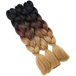 Synthetic Yaki Straight Ombre Jumbo Braiding Hair Extensions High Temperature Fiber Crochet Braids Hairstyles (Black Dark Light Brown)