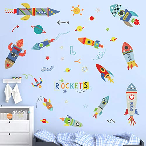 (ufengke Colorful Rockets Wall Stickers Outer Space Planets Wall Art Decals Wall Decor for Boys Bedroom Nursery)
