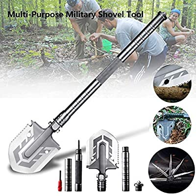 Ultimate Survival Tool 23 in 1 Multi-Purpose Folding Military Shovel,Spade Entrenching Tool for Camping Trekking Fishing Hunting Car Emergency from TLMM