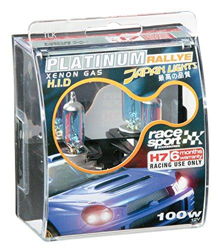 RACE SPORT PLATINUM RALLYE XENON GAS JAPAN HID LIGHTS H7. 100W, 12v. TWO BULBS. (Race Xenon)