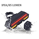 CCsky Bike Taillights,USB Rechargeable Intelligent Turn Signal with Waterproof Powerful 85 Lumen Warning LED,Mountain Bicycle Remote Control Alert for Nighttime Safety,Outdoor,Self-Driving Touring