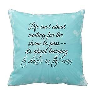 Lfarncomboutlet Creative Fashion Cotton Linen Square Decorative Throw Pillow Cover 45*45cm Pretty Blue Splash With Bokeh Lightand Life Quote (659)