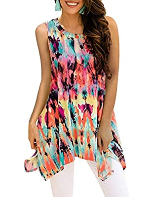 Viracy Women's Summer Casual Sleeveless Swing Tunic Floral Tank Top