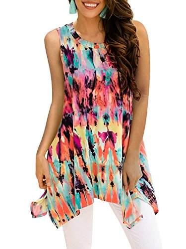 Viracy Boho Tops for Women, Ladies Summer Floral Printed Sleeveless Irregular Asymmetrical Hem Loose Hawaiian Tunic Shirts Girls Crew Neck Fancy Blouses Multicoloured M