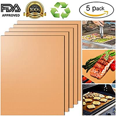 "BBQ Grill Mats Set of 5 100% Non Stick PTFE Teflon Sheet for Gas Grill, Charcoal, Electric Grill As Seen on TV, 15.75 x 13"" from YRYM HT"