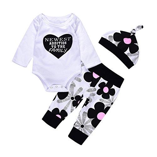 Ideal Package - 3pcs Fashion Newborn Kids Baby Boy Girls Cotton Romper+Floral Pants+Hat Outfits Set (0-3M, White)