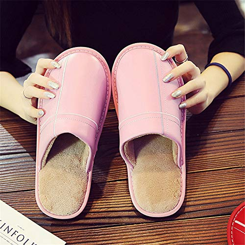 And Warm Pink2 Women's Outdoor Comfortable Slip Shoeshouse Slippers Men's onleather Floor Night Indoor Cotton Wall Shoes amp; aXqKRc4z