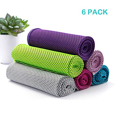 luloo 6 Pack Cooling Towel Instant Cooling Bandanas Soft Neck Wrap for Sports, Workout, Fitness, Gym, Yoga, Pilates, Travel, Camping by luloo