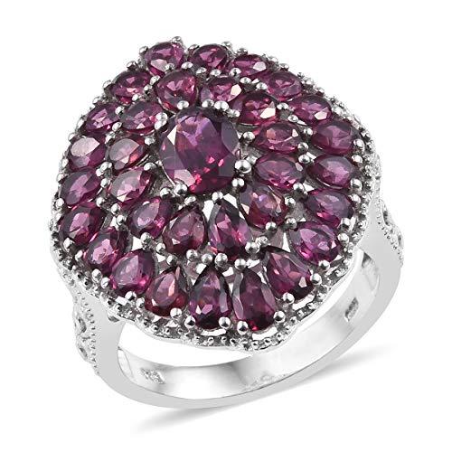 (925 Sterling Silver Platinum Plated Oval Rhodolite Garnet Ring for Women Size 8 Cttw 7.4)