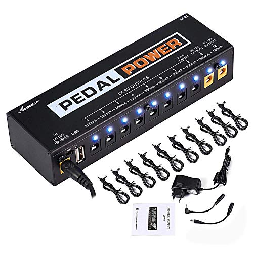 (Guitar Pedal Power Supply 10 Isolated DC Output for 9V/12V/18V Guitar Bass Effects Pedals with Built-in USB Charging Port for Phone iPhone Pad iPad)