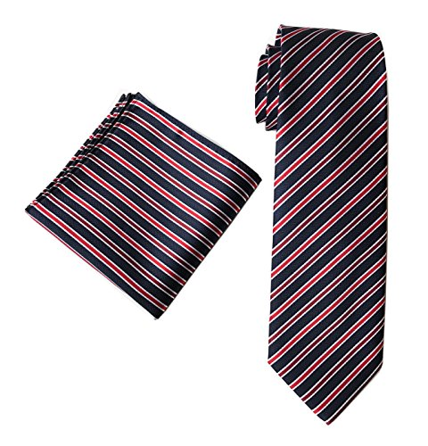 Men's Stripe Navy Blue Red Jacquard Woven Silk Tie Set Formal Business Necktie