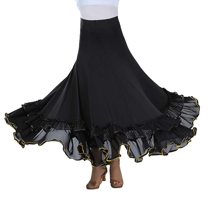 e42d93fca533 Tookang Flamenco Ballroom Latin Dance Skirt Belly Dance Long Skirt Tango  Training Modern Costume Women Dress Dance Skirts: Amazon.co.uk: Clothing