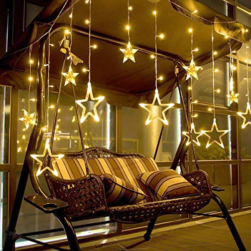 Led String Lights, Marchpower Star Curtain Lights Indoor Warm White 12 Stars 138 LEDs Window Icicle Decor Lighting Home Garden Holiday Wedding Christmas Party Backdrops from Marchpower