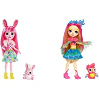 Enchantimals Bree Bunny y Twist, muñeca con Mascota (Matty FXM73) + Muñeca Peeki Parrot - muñeca, Edad recomandada 4…