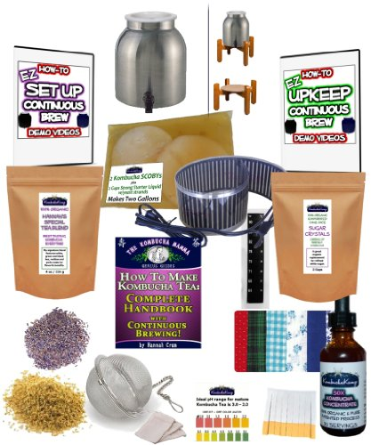 KKamp Continuous Brew Kombucha COMPLETE PACKAGE - Stainless Steel w/Wood Stand + Essential Heat Strip