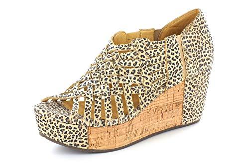 Chocolat Blu Web Wedge - Woven Platform Sandal - Women's Leather Shoes Cheetah Suede ()