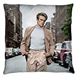 James Dean 1950's American Actor Icon New York Stroll In Color Throw Pillow