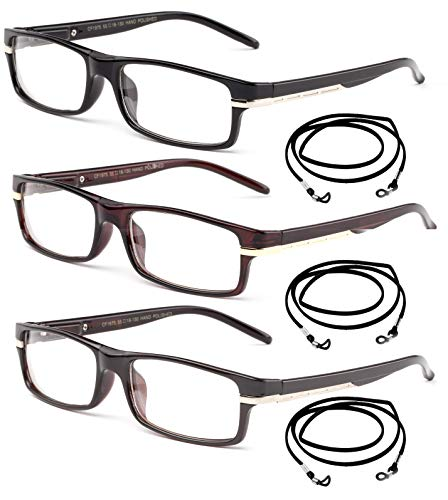 High Quality Reading Glasses Rectangular Frame with Metal Stripe on Arm Spring Temple in Value Pack with Free Lanyard for Men & Women Reading Glasses 2.00