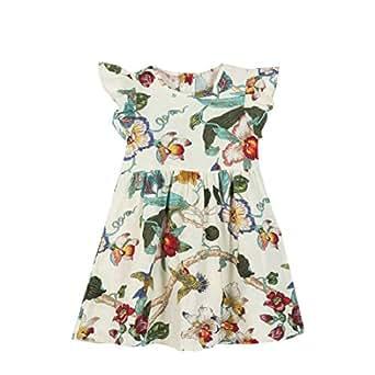 Howely Big Little Girl Cute Organic Cotton Summer Sleeveless Dresses Clothes Beige 100