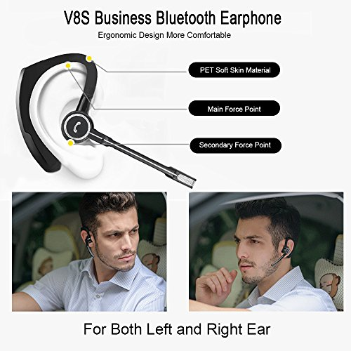 AGKupel Compatible Bluetooth Headset, Wireless Earpiece AGKupel Hands Free Business Earphones in-Ear Earbuds with Noise Canceling Mic for Business/Office/Driving, Work for iPhone/Samsung/Android Cell by AGKupel (Image #6)