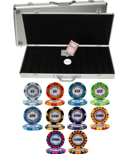Monte Carlo 14gm 500 Chip Clay Poker Set with Aluminum Case by Mrc Poker