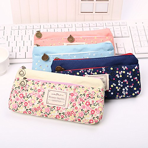Lovely Double Zipper Pencils Case Portable Student Stationery Storage Pencil Bag for School Office Material Supplies (1 Pcs R