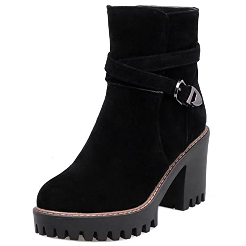 Zanpa Mujer Casual Botines Tacon Ancho Botas Sin Cordones: Amazon.es: Zapatos y complementos