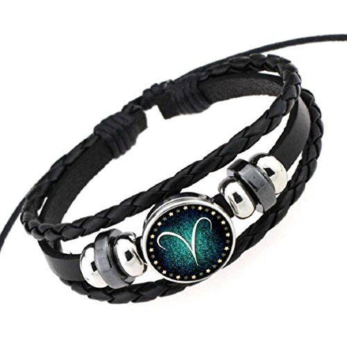 Fariishta Jewelry Hand Braided Retro Constellation Aries Leather Wrap Bracelet