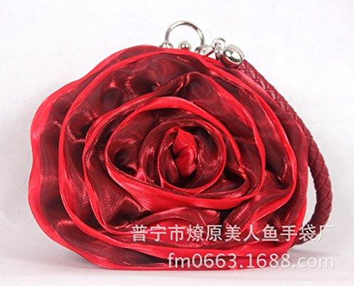 Bolsa de Bolsa de with Rojo Boda red pintalabios Portable Cambio red de jujube Vestido satn azufaifa Flor Noche Bolsa Flores Cena Noche Novia de Big E5qXawxA