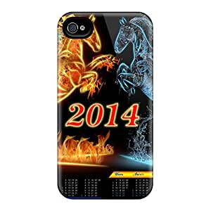 High Quality 2014 New Year Horse Calendar Case For Iphone 4/4s / Perfect Case