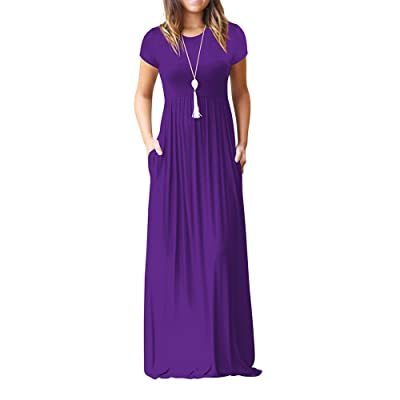 KYLEON Dress Women's Short Sleeve Tunic Maxi Dress with Pockets at Women's Clothing store