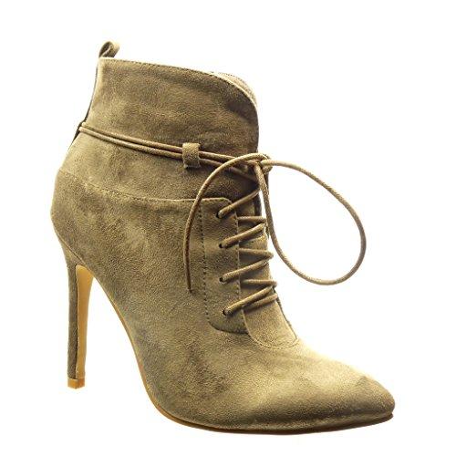 Angkorly - Zapatillas Moda Botines low boots sexy mujer Hebilla encaje Talón Tacón de aguja alto 11 CM Caqui