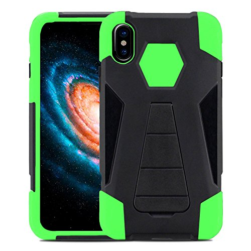 iPhone X Case - Zizo Hybrid Dual Layer Cover [Heavy Duty Rugged Protector Shell] Lightweight and Slim Tough Protective Case w/ Kickstand