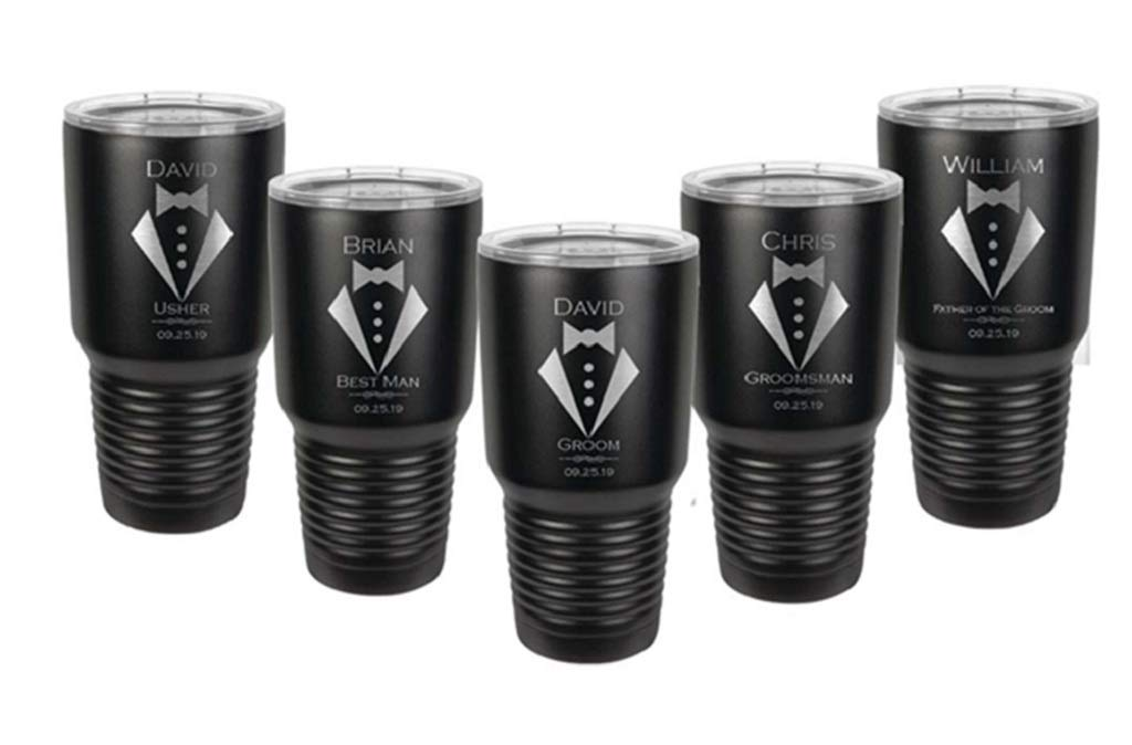 Stainless Steel with a Clear Lid Choice of 10 oz Colors Designs Custom Engraved Gift Titles Date /& Spill Proof Slide Lid Groomsman Tumbler 12 oz 30 oz 20 oz Names