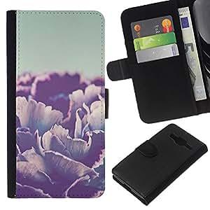 KLONGSHOP // Tirón de la caja Cartera de cuero con ranuras para tarjetas - amar a la menta texto verde corazón de la caligrafía - Samsung Galaxy Core Prime //