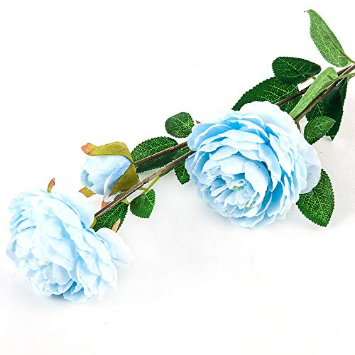 HS store Charm Fake Rose Artificial Silk Peony Flower Bridal Wedding Bouquet Home Decor (Light Blue) (Hall Blue China Bouquet)